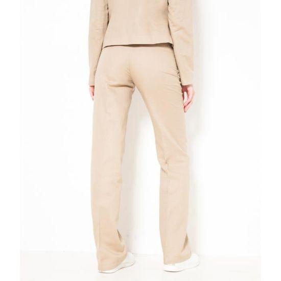 Pantalon Camaïeu Femme Beige New Lin Large Blinette FwdrdE