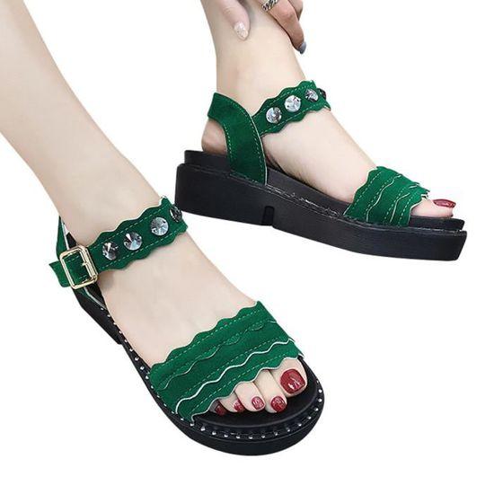 Boucle Antidérapante Plate Rond forme Plates Femmes Sandales Vert Bout Escarpin kPXZOuTi