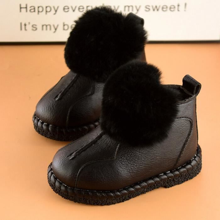 Neige De Bottes Tout Noir Cuir Enfants petits ons Bbs Martin Chaussures Filles Hiver En Bb Gar qO4FC6xw