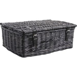 valise de rangement en osier teint gris 53x35x achat vente casier pour meuble en osier. Black Bedroom Furniture Sets. Home Design Ideas