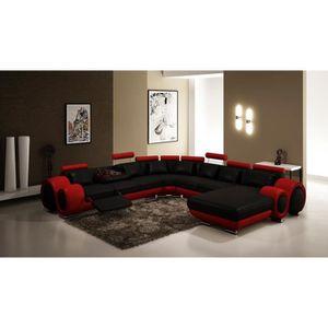 CANAPÉ - SOFA - DIVAN Canapé d'angle panoramique cuir noir et rouge rela