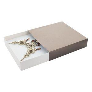 ECRIN - ETUI A BIJOUX Jouailla - Ecrin collier carton marron-crème irisé