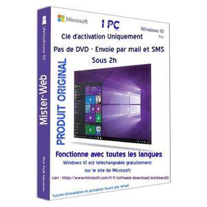 CLÉ USB Télécharger la clé d'activation Licence Windows 10