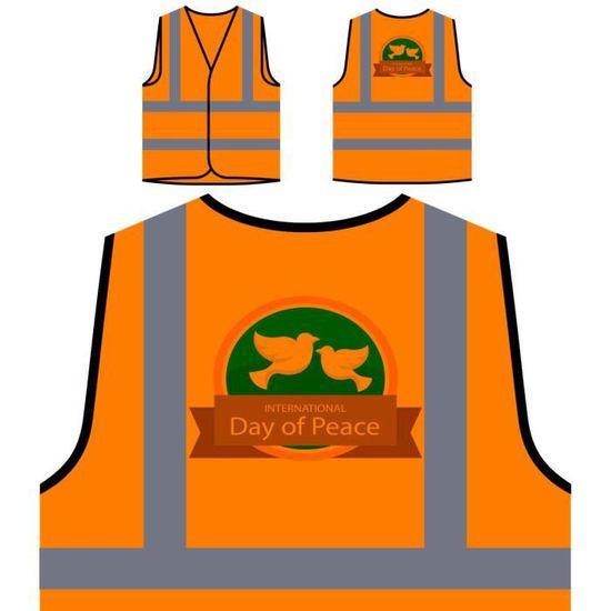 Protection Orange Veste Vi À Personnalisée peace day with De dove Visibilité Haute 5xxf71w