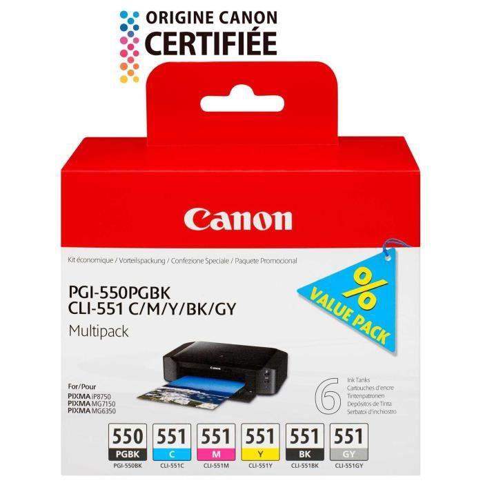 Cartouche Canon INK PGI-550 / CLI-551 C,M,Y,BK,GY