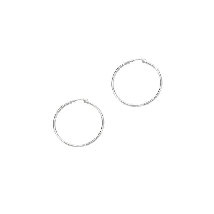 14 carats Blanc 2 x 40 mm-Shiny-Boucles dOreilles Créoles