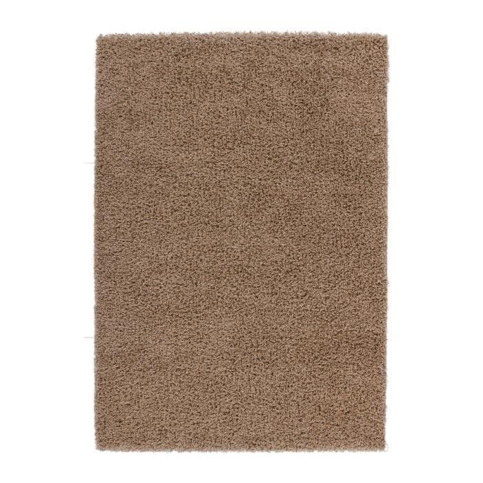 Tapis de salon marron clair shaggy 50 mm moderne dessin 200x290 cm ...