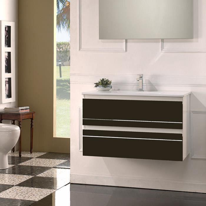 Meuble de salle de bain simple vasque 80 cm - Ritz, Chocolat et ...