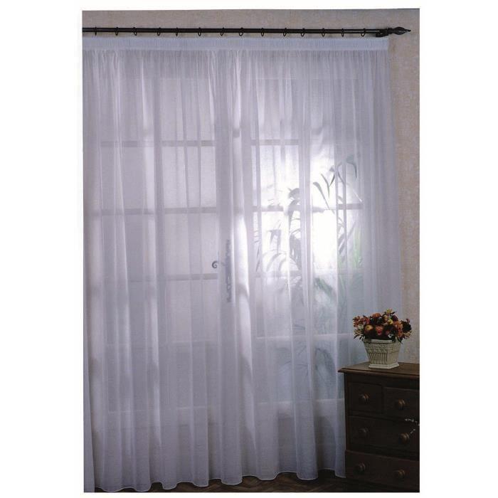 rideau voilage classique uni blanc 240 x 240 cm achat vente rideau lin polyester soldes. Black Bedroom Furniture Sets. Home Design Ideas