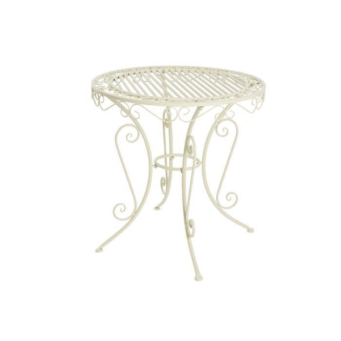 Table de jardin pliante ronde Vienna Ø 70 cm - Jardideco Blanc Cassé