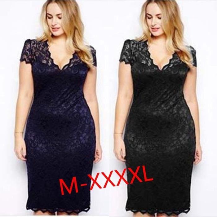 96b74511BlackFemmes Fashion manche courte couleur unie dentelle col v Party robe d'été Plus tailleNoir