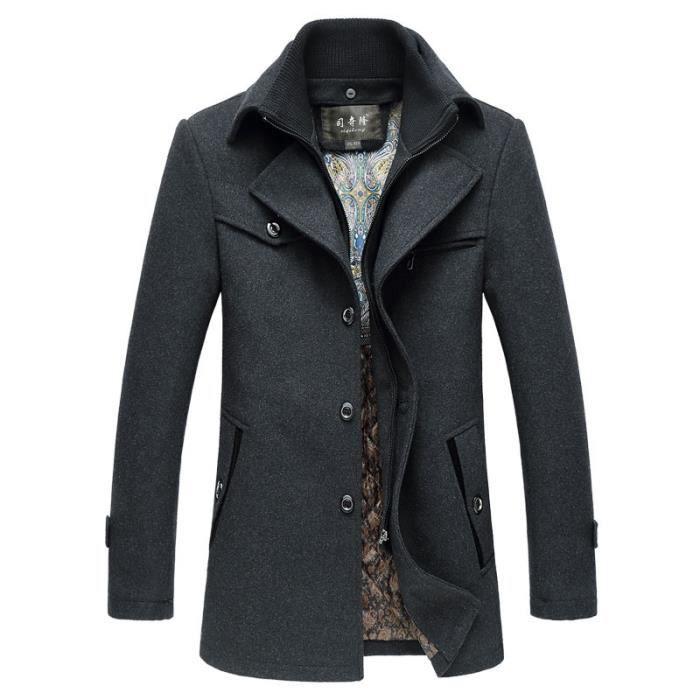 Masculin noir Laine Homme Kaki Revers gris En De Mélangée Parka Vêtement Longue F8wqPxFgO
