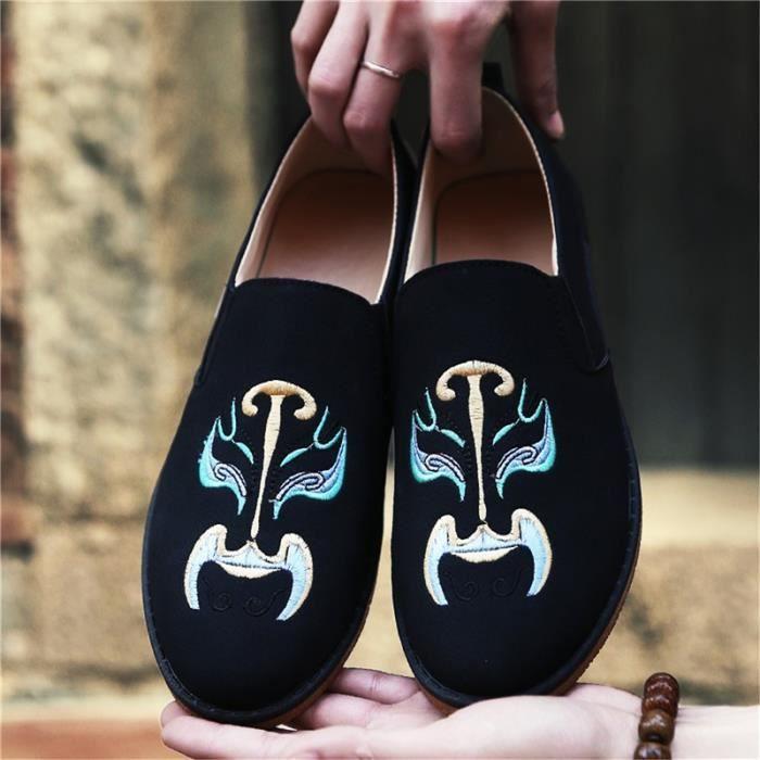 chaussures multisport Mixte Types de style chinois de maquillage du visage En Operas Broderie plates Casual noir taille44