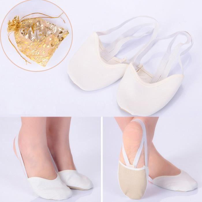 f6db606480ab1 Ballet de pointe semelle en cuir mi-lyrique Chaussures de danse Chaussons  de gymnastique rythmique blanc PO148