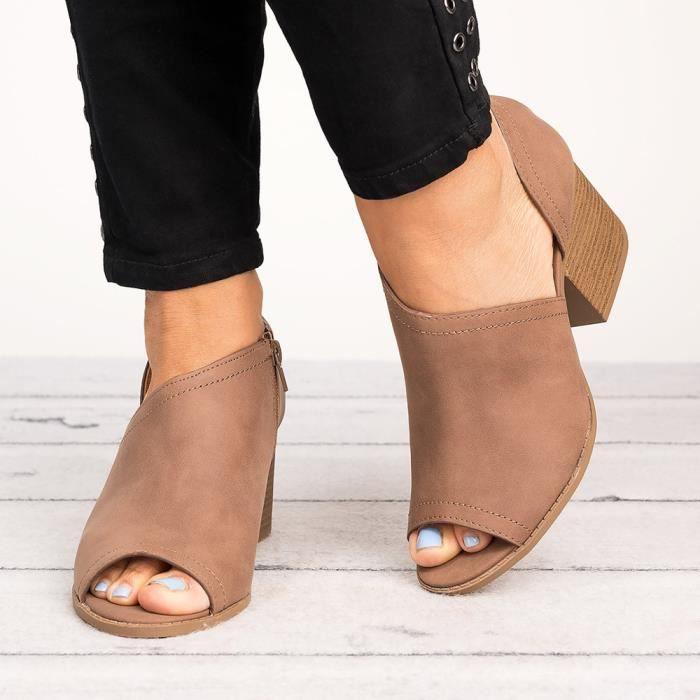 2018 grande taille européenne et américaine poisson bouche chaussures nues et bottines dans les chaussures à talons bas chaussur