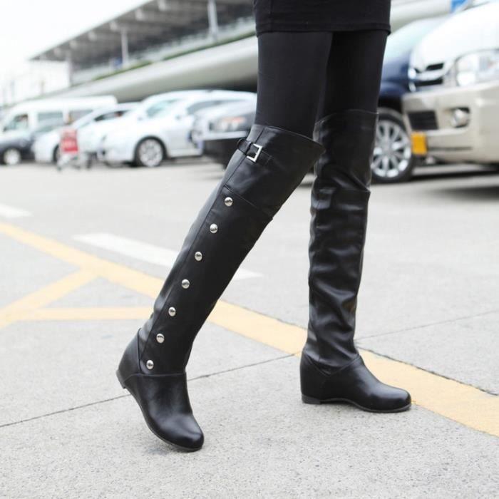 Nouvelle mode des femmes réel en cuir véritable Cuissardes femme Flat Martin Boot Femme Toe Round Up Chaussures Taille 681KW
