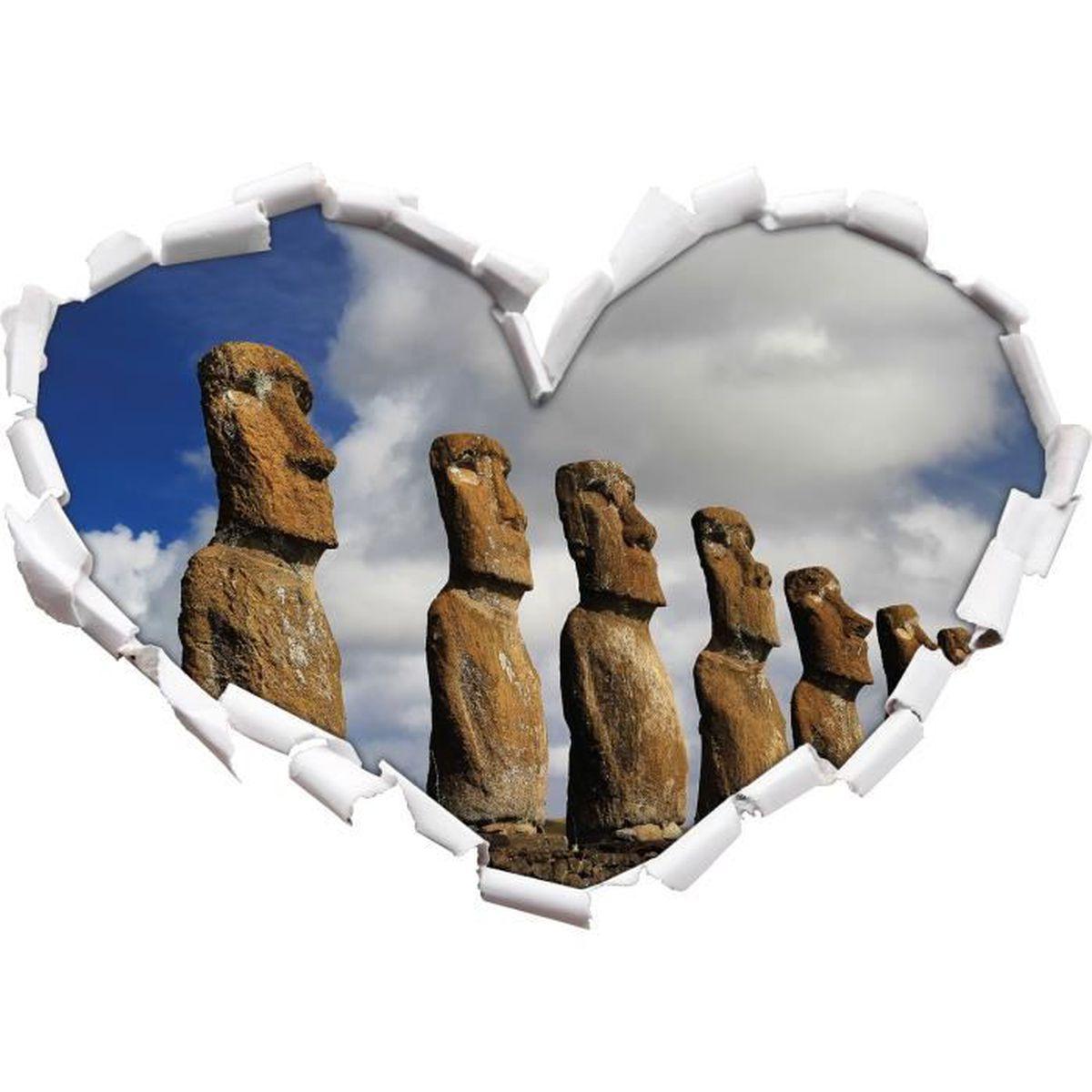 statues moai sur la forme de coeur l 39 le de p ques dans le regard 3d mur ou un autocollant de. Black Bedroom Furniture Sets. Home Design Ideas