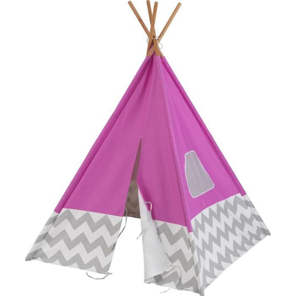 Tente Chambre Garcon avec tente tipi d'indien pour chambre d'enfant rose et grise - achat
