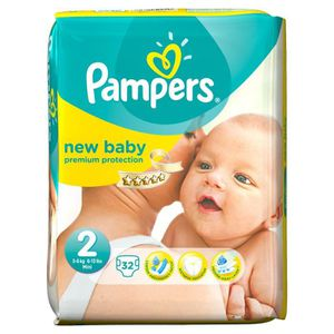 COUCHE PAMPERS New Baby Taille 2 - De 3 à 6kg - 32 couche