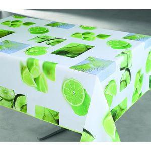 Nappe enduite rectangulaire 145x240 cm blanc, vert et jaune
