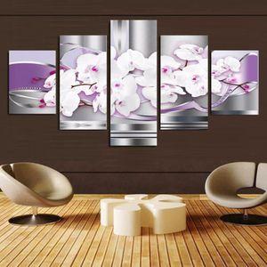 TABLEAU - TOILE 5 panneaux toile imprimée peinte fleur pourpre déc