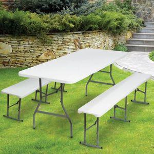 MEUBLE DE CAMPING Table de camping pliante Mixte  - 2 bancs pliables