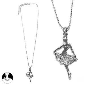 SAUTOIR ET COLLIER Collier en métal argenté pendentif danseuse etoile