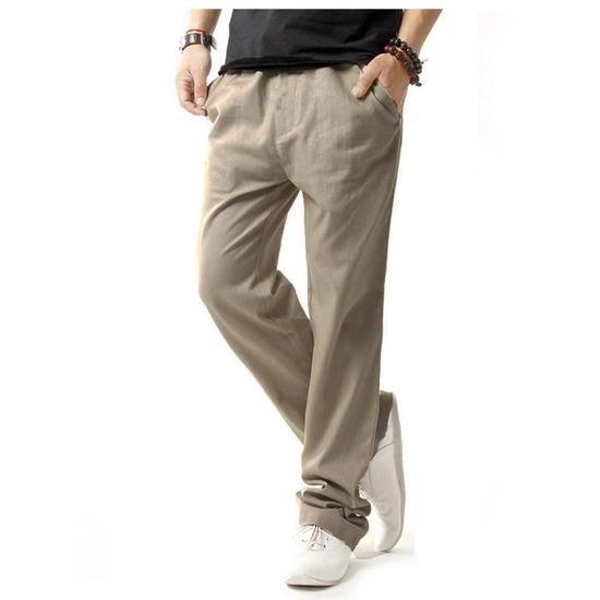 Homme pantalon long matière de lin style ample ... Gris Beige2 - Achat    Vente pantalon - Soldes  dès le 9 janvier ! Cdiscount 367a953fa779