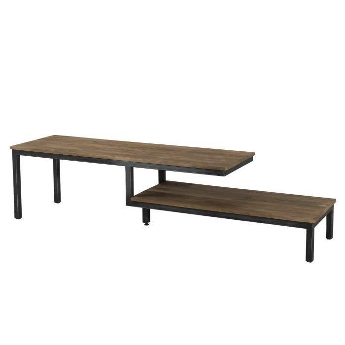 Meuble TV industriel en bois teck + pieds en métal - L 164 cm