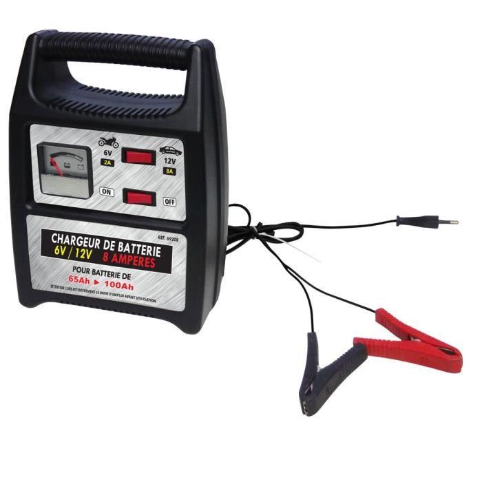 Chargeur de batterie 6V/12V 8A pour batteries de 65 à 100 Ah -Noir