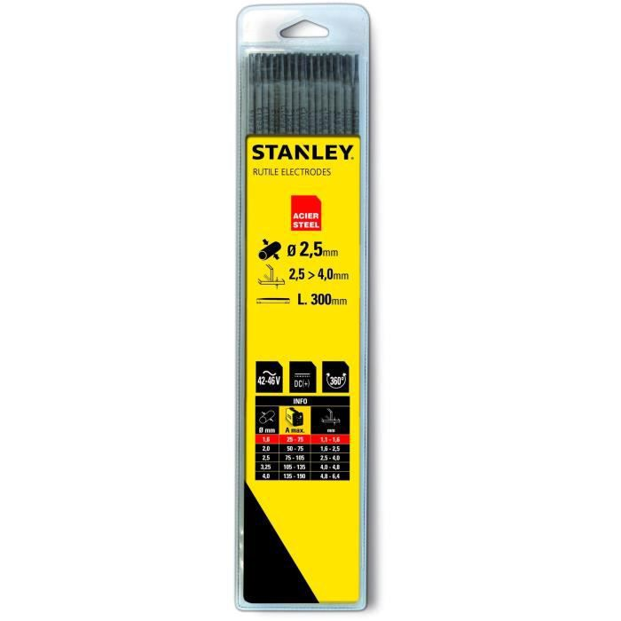 STANLEY 460720 Lot de 13 électrodes rutiles acier - Ø 2 mm - L 300 mm - Baguettes de soudure