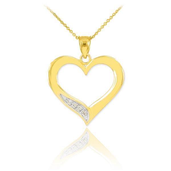 Pendentif 10 ct 471/1000 Diamants en orpendentif Cœur