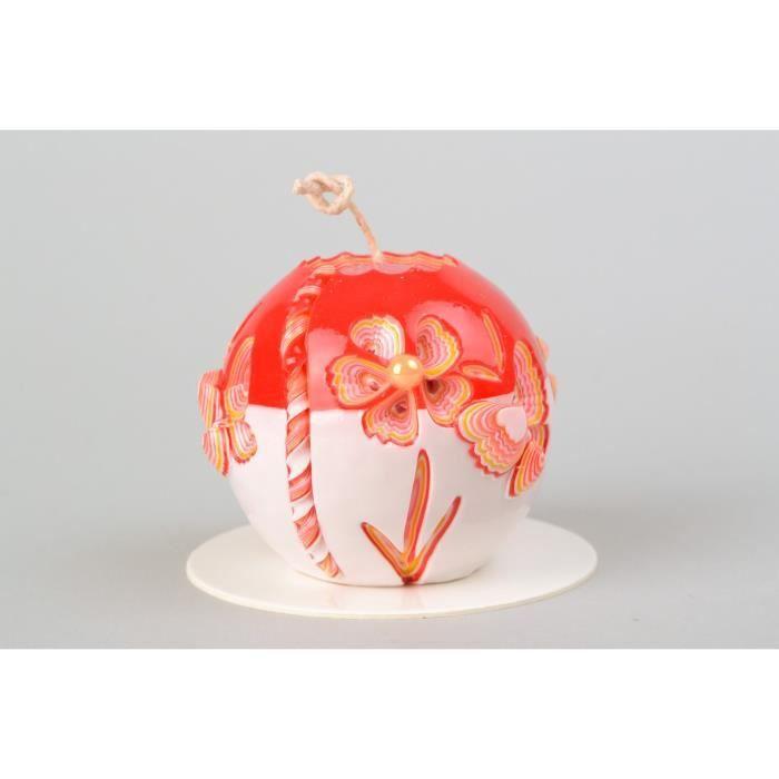 Bougie Sculptee En Paraffine Rouge Faite Main Decoration Originale