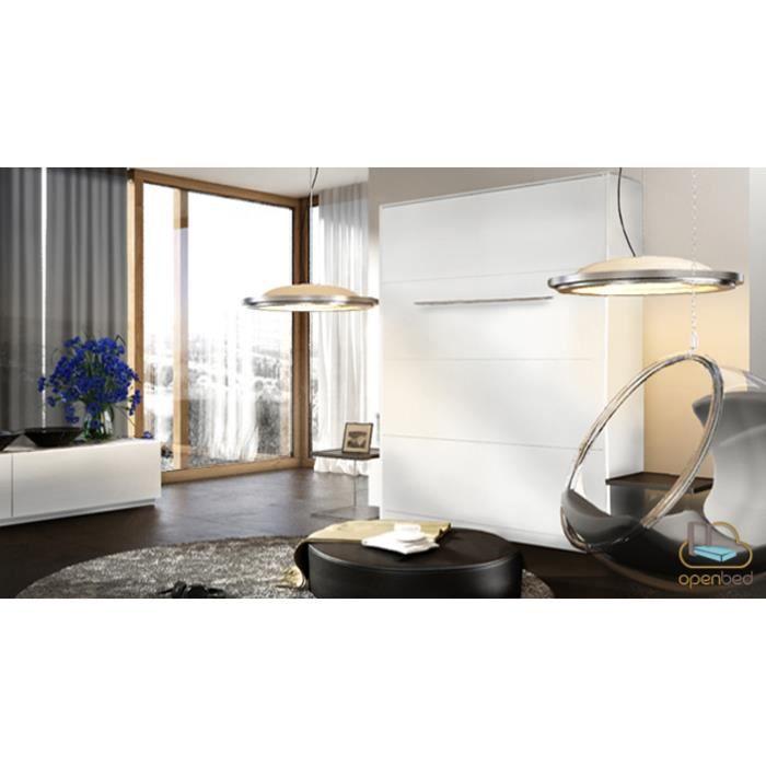 lit escamotable bora vertical 140x200 finition bla achat vente lit escamotable lit. Black Bedroom Furniture Sets. Home Design Ideas