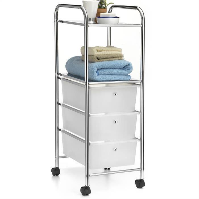 Caisson sur roulettes gina 3 tiroirs 2 tablettes achat - Petit meuble de rangement 3 tiroirs ...