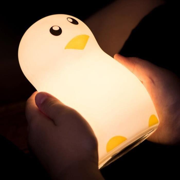 Veilleuse En Lumière Colorée Silicone De Nuit Pingouin Led Lampe K1lFJTc