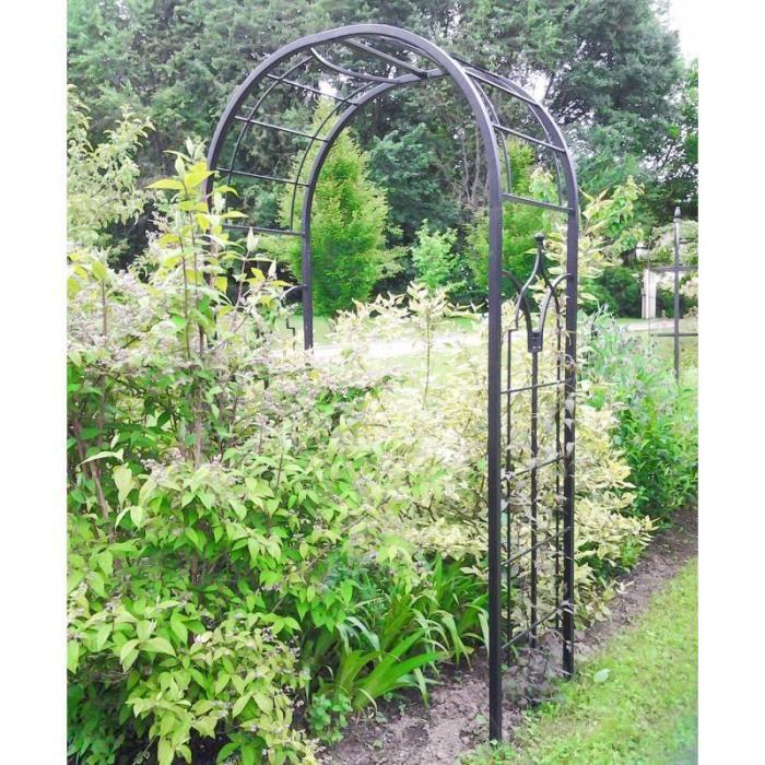 Arche Princess Arche à Fleurs Rosiers Tuteur Plantes de Jardin Passage en  Fer Forgé Marron Martelé ou Noir 61x124x229cm (Noir)