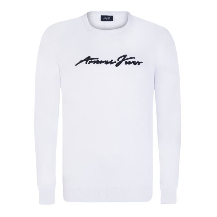 2b2ab02bbae ARMANI JEANS Pull - Homme - Blanc - Achat   Vente pull ARMANI JEANS ...