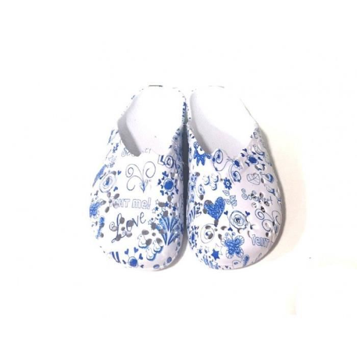 Mules plastiques pour femme imprimes Love Bleu HciRitXti