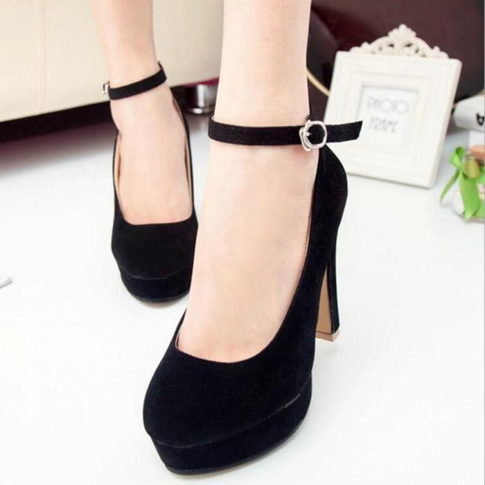 Hotskynie®Mode cheville talons hauts sandales de mariage pompes plate-forme pour femmes Noir*SJF71226732BK