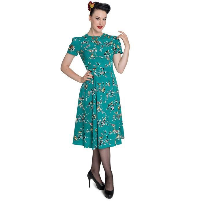 Hell Bunny 50 ans des femmes 40s Birdy Tea Party Pin Up Landgirl Ww2 Retro Vintage Style vestimentaire 2OWVWS Taille-44