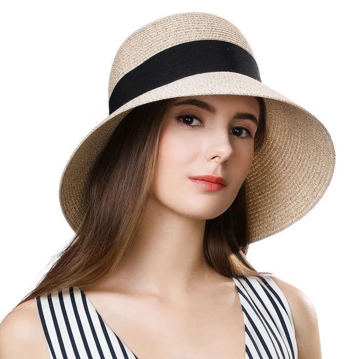 dernières tendances sur des coups de pieds de nouveaux prix plus bas Chapeau de Paille Pliable - Femme Capeline UPF50 - Large ...