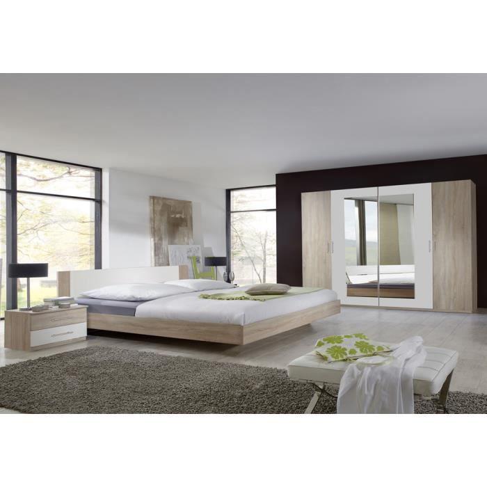 Chambre Adulte En Panneaux De Particules Imitation Chêne 180 X 200 Cm.