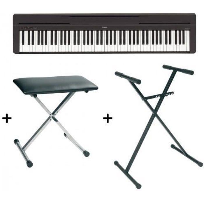 pack piano num rique yamaha p45 noir support banquette. Black Bedroom Furniture Sets. Home Design Ideas