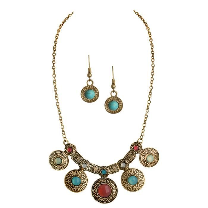 Womens Multi Color Beads Decoration Jewelry Earrings Statet Jewelry Sets For Ains_222 LZMA7