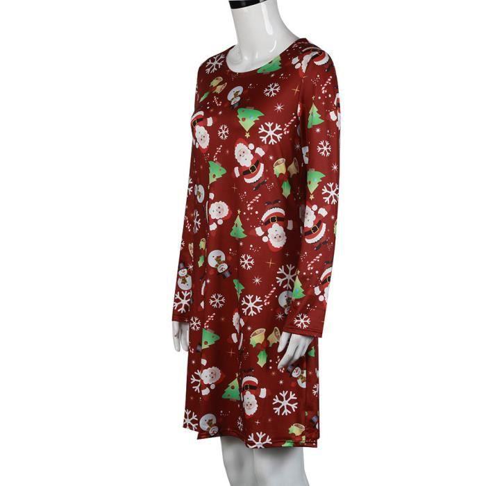 manches Robes trapèze Noël évasé à HA6600 soirée Imprimer de longues Femmes Noël femmes pour de Robe Noël BAwCtxtXFq