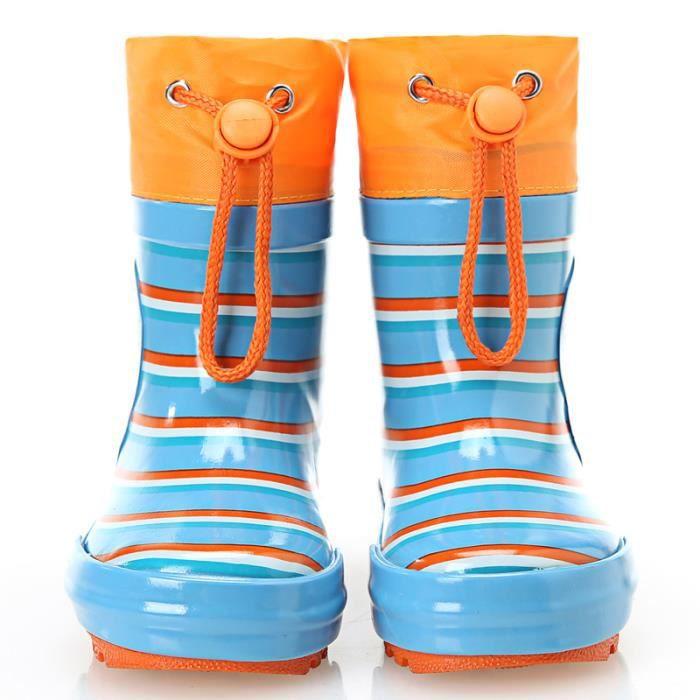 SIMPLE FLAVOR La mode à rayures casual bottes de pluie enfants glissent ueRJX