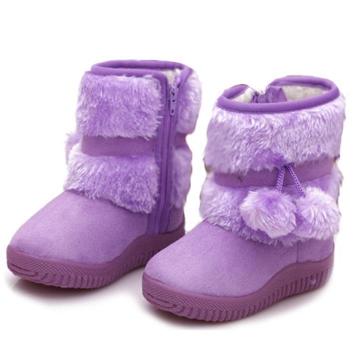 Hiver Bottes Enfants En Peluche Chaussures Filles Garçon Bottines BJXG-XZ095Violet20 aBwOPZDtbb