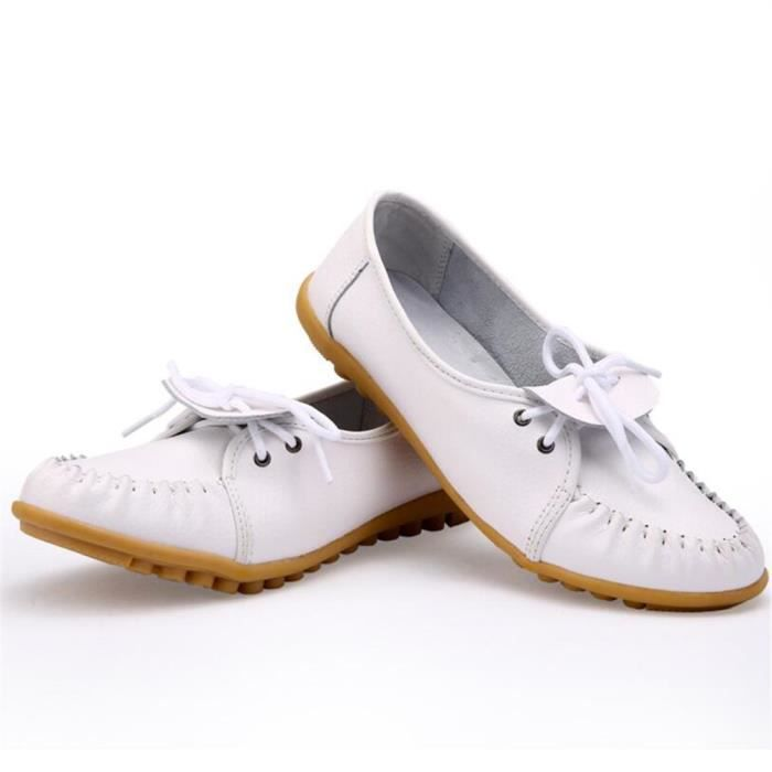 Mocassin Femmes Ultra Leger Antidérapant Chaussures WYS-XZ041Blanc40