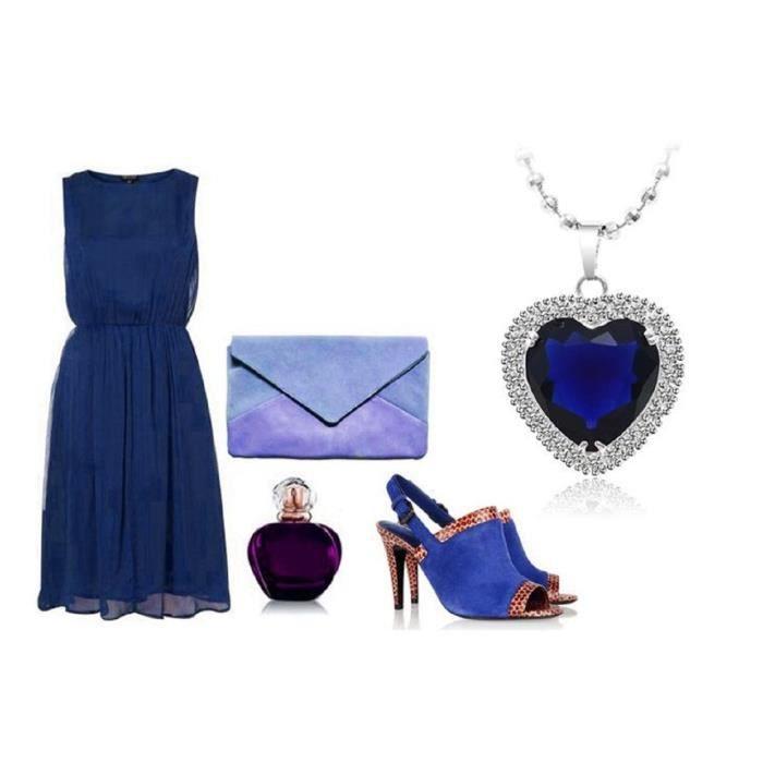LORELYS Cadeau Damour Femme Collier avec Pendentif Femme - Cœur Cristal Bleu Royal idéale De Dire Je taime ! Plaque Or Blanc